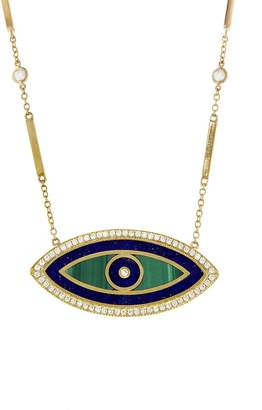 Jacquie Aiche Malachite, Lapis and Diamond Pavé Evil Eye Necklace - Yellow Gold