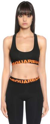 DSQUARED2 Logo Print Jersey Sports Bra Top