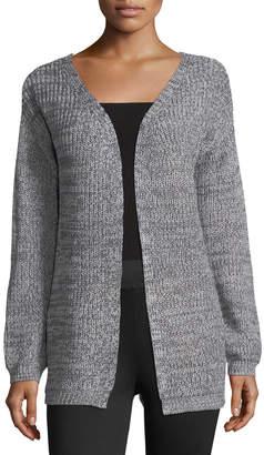 Dex Melange-Knit Cardigan w/Lace-Up-Back, Gray