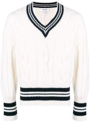 Thom Browne Cricket Stripe V-Neck Pullover
