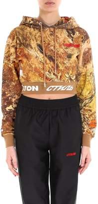 Heron Preston Camo Crop Hoodie Sweatshirt