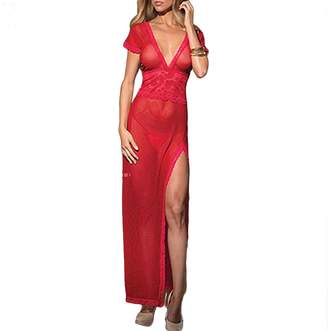 bjduck99 Women s Hot See Through Lingerie Lace Dress Sleepwear Gown  G-String Set fa9ee040a