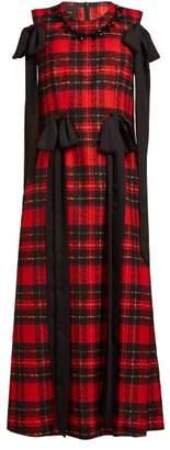 Simone Rocha Beaded And Bow Trim Tartan Georgette Dress - Womens - Red