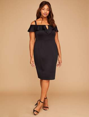 Lane Bryant Built-In Smoothing Slip Scuba Off-the-Shoulder Sheath Dress
