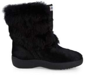 Calf Hair & Rabbit Fur-Trim Suede Mid-Calf Boots