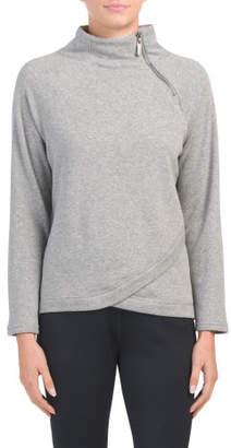 Fleece Lined Asymmetrical Zip Neck Top