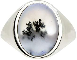 No 13 - Snow Agate Vertical Signet Ring Silver