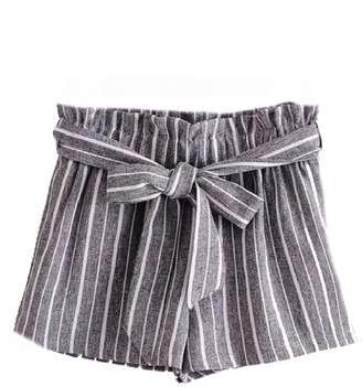 Goodnight Macaroon 'Sheila' Striped Front Tied Paper Bag Shorts (2 Colors)