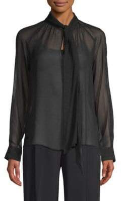 Max Mara Tago Dot Tie-Neck Silk Blouse