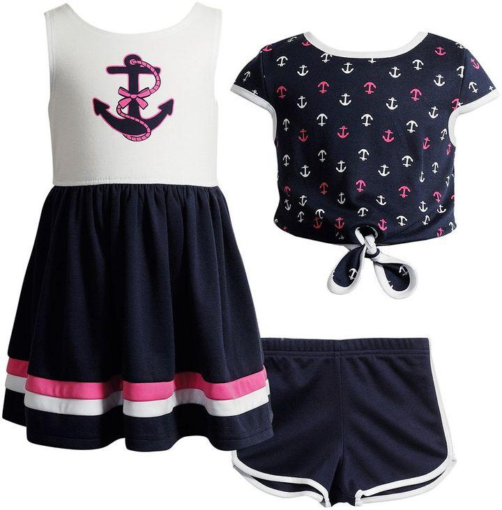 Toddler Girl Youngland Anchor Sleeveless Dress, Popover Top & Shorts Set