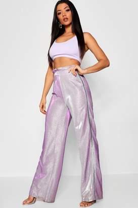 boohoo Metallic Side Stripe Paperbag Wide Leg Trouser