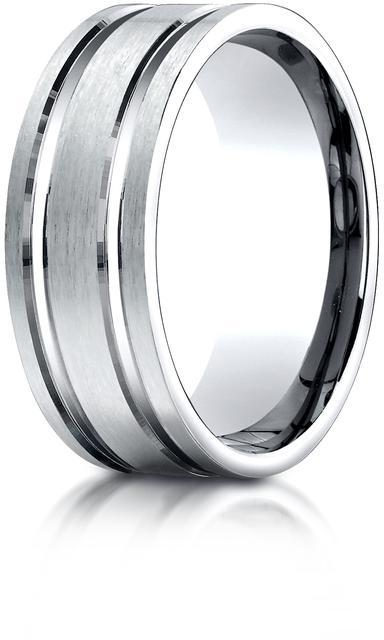 Benchmark Palladium 8mm Comfort-Fit Satin Wedding Band with Parallel Grooved Carved Design