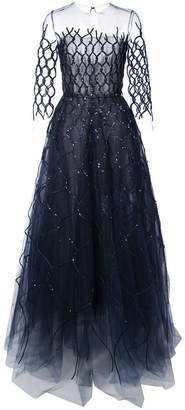 Oscar de la Renta sequin-embroidered fishnet gown