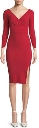 Chiara Boni Iza Mock-Wrap Dress w/ Slit Skirt