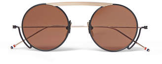 Thom Browne Round-Frame Navy and Gold-Tone Sunglasses - Men - Black