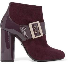Lanvin Buckled Suede And Patent-Leather Ankle Boots