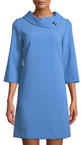 Crepe Shift Dress with Asymmetric Fold-Over Collar