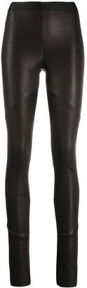 Isabel Benenato leather slim fit trousers
