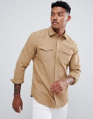 Pull&Bear Denim Western Style Shirt In Tan
