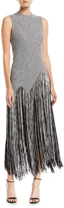 Proenza Schouler Sleeveless Houndstooth Fringe Woven Dress
