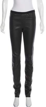 Helmut Lang Mid-Rise Leather Leggings