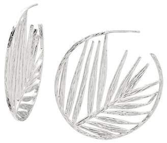 Gorjana Silver Plated Palm Leaf Profile Hoop Earrings