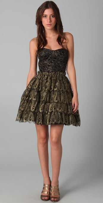 Haute Hippie Strapless Bustier Cocktail Dress