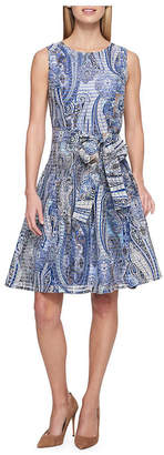 Tommy Hilfiger Paisley-Print Striped Sheer A-Line Dress