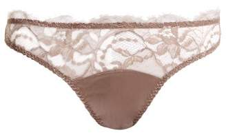 Fleur of England Lace And Satin Thong - Womens - Light Brown