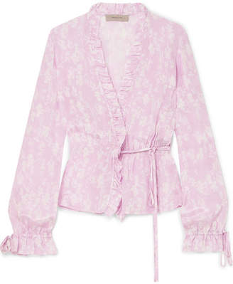 Preen Line Taia Ruffled Floral-print Crepe De Chine Wrap Blouse - Pastel pink