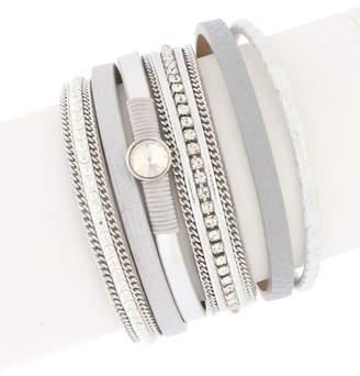 Saachi New Majorca Crystal Multi-Strand Leather Wrap Bracelet