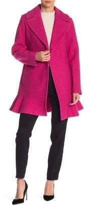 Kate Spade Wool Blend Ruffle Hem Coat