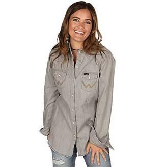 Wrangler Women's Long Sleeve Western Yoke Snap Work Shirt