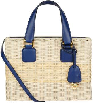 Mark Cross Manray Rattan Leather Tote
