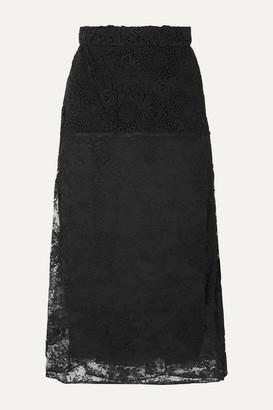 Prada Paneled Lace Midi Skirt - Black
