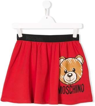 Moschino Kids TEEN bear logo print skirt
