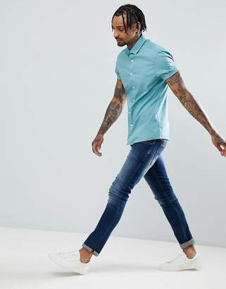 Asos Design DESIGN skinny oxford shirt in green with short sleeves