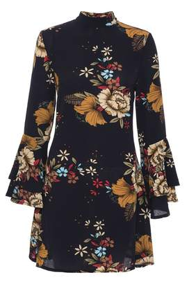 Quiz Navy Floral Print Crepe Frill Sleeve Dress