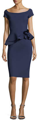 Chiara Boni Lady Cap-Sleeve Peplum Cocktail Dress