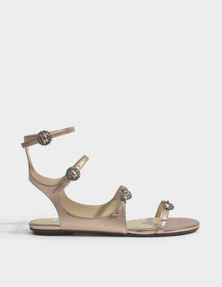 Jimmy Choo Naia flat sandals with crystal buckles