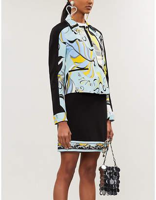 Emilio Pucci High-waist printed-trim wool-blend mini skirt