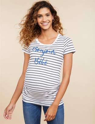 Motherhood Maternity Bonjour Bebe Gender Reveal Maternity Graphic Tee