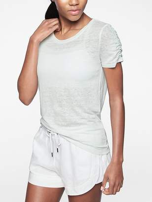Athleta Linen Ruched Tee