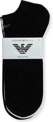 Emporio Armani Pack-of-three logo-print cotton trainer sock $21 thestylecure.com