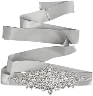 Generic Bridal Wedding Dress Belt Sash Crystal Rhinestone Sparkle Ribbon Tie 5 Colors - Grey
