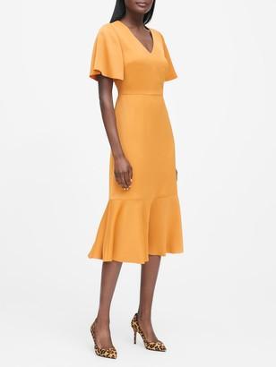 Banana Republic Flutter-Sleeve Midi Dress