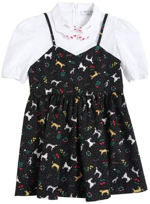 Dog Printed Cotton Poplin Dress