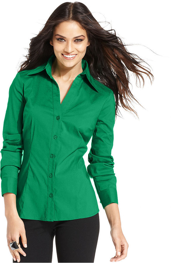 INC International Concepts Top, Long-Sleeve French-Cuff Shirt