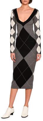 Stella McCartney Long-Sleeve Argyle Knit Sweaterdress, Gray Pattern