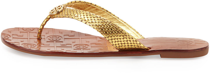 Tory Burch Thora Logo Thong Sandal, Gold